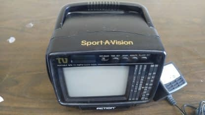 Vintage Portable 45 bw Tv with AMFM Radio and LCD Alarm Clock Action 274147844887 4