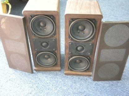 Vintage KOSS Dynamite M80 Plus Wood Bookshelf speakers dual Woofers Sounds Great 264570328625 3