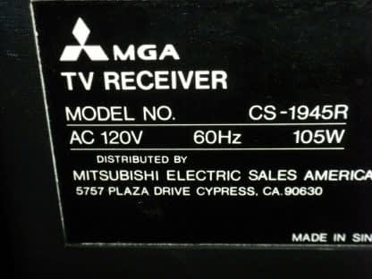 Vintage Mitsubishi TV CS 1945R Television Woodgrain 1987 Excellent CRT TV 264285108799 5