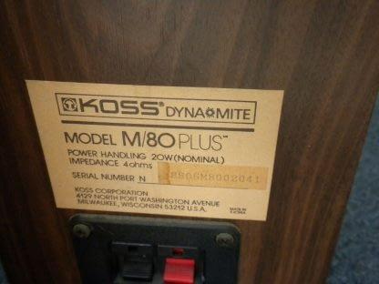 Vintage KOSS Dynamite M80 Plus Wood Bookshelf speakers dual Woofers Sounds Great 264570328625 2