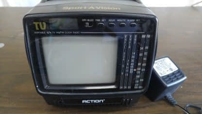Vintage Portable 45 bw Tv with AMFM Radio and LCD Alarm Clock Action 274147844887 5