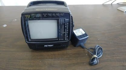 Vintage Portable 45 bw Tv with AMFM Radio and LCD Alarm Clock Action 274147844887 3