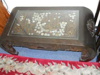 Vintage Wood Chinese hand carved Bar Coffee table stacked Table set Local pickup 264583501882 6